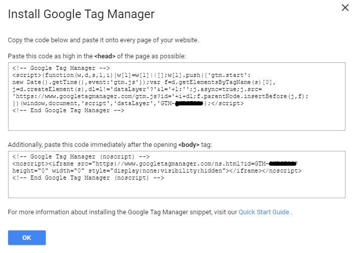 Image of Google Tag Manager Code Snippets