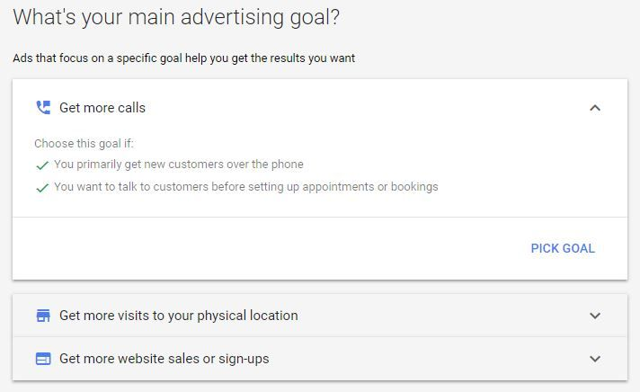 Select your advertising goal.