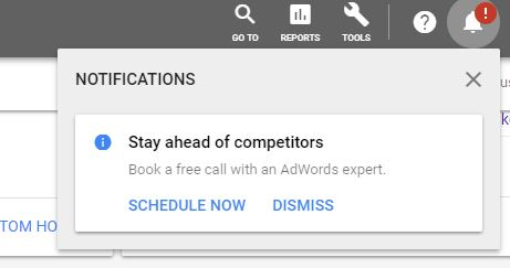 Image showing an example of the notification for Google Ads about a free call from an Adwords Expert.