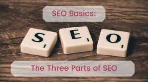 Image with three scrabble tiles spelling SEO and the title text for the article - SEO Basics: The Three Parts of SEO
